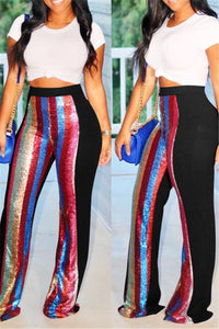 Sequin Splicing Casual Pants - ezcute