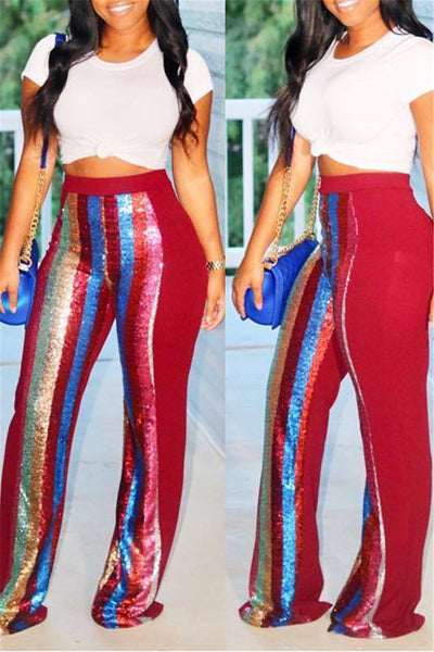 Sequin Splicing Casual Pants