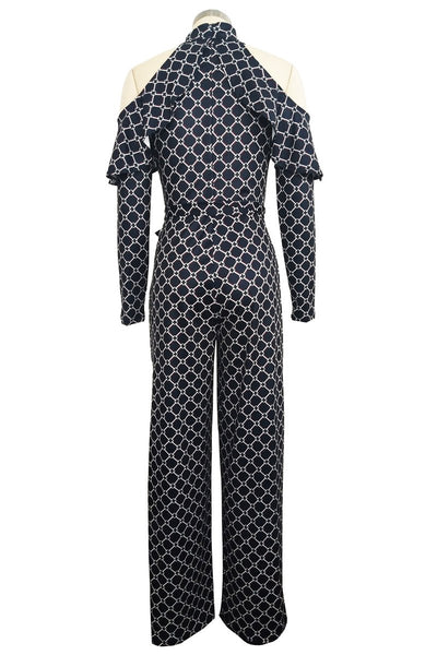 Cold Shoulder Printed Jumpsuit - ezcute