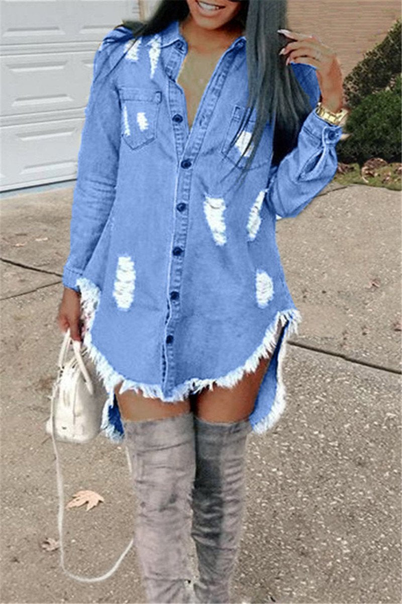 Denim Distressed Casual Shirt Dress - ezcute
