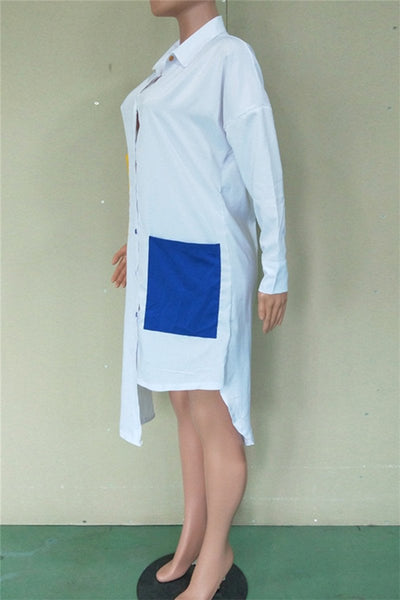 Irregular Hemline Casual Shirt Dress - ezcute