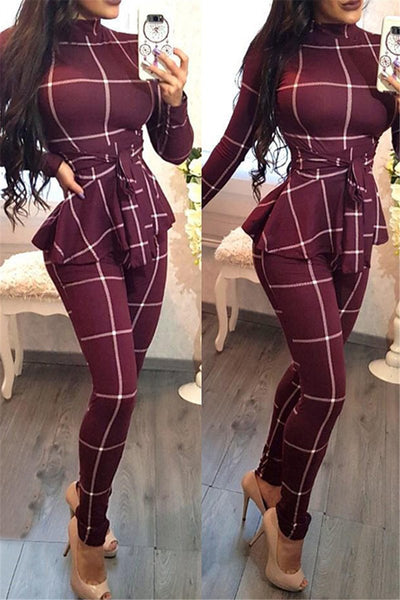 High Collar Lattice Jumpsuit - ezcute