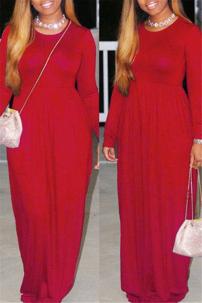 Casual Solid Color Maxi Dress - ezcute