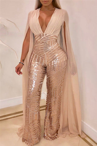 Plus Size Sequins Splicing Party Jumpsuit