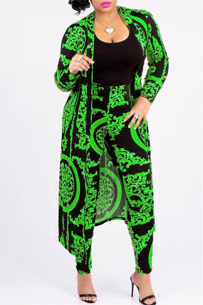 Printed OverCoat&Pants Sets