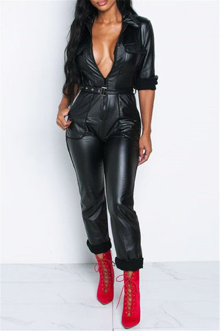 PU Leather Pocket Jumpsuit - ezcute