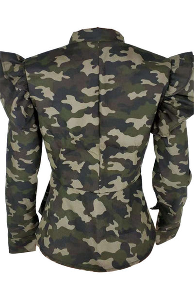 Plus Size Camo Ruffle Shoulder Jacket - ezcute