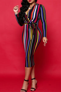 Rainbow Striped Midi Dress