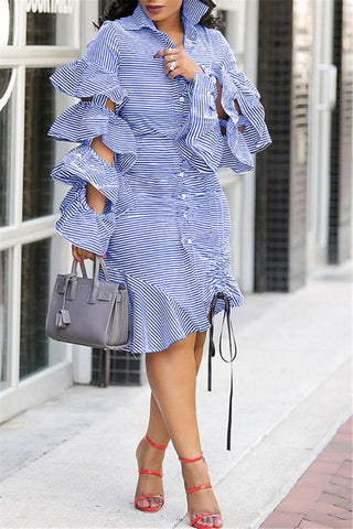 Striped Flounce Sleeve Shirt Dress