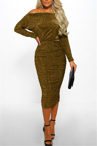 Off Shoulder Gold Silk Midi Dress - ezcute