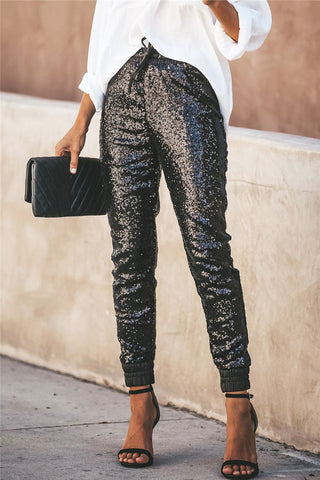 Sequins Splicing PU Leather Pants - ezcute