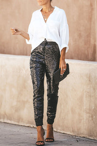 Sequins Splicing PU Leather Pants