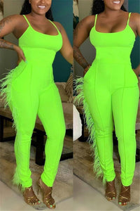 Solid Color Tassel Splicing Jumpsuit