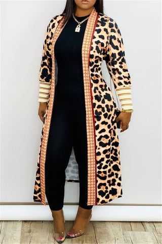 Leopard Printed Cardigan Coat - ezcute