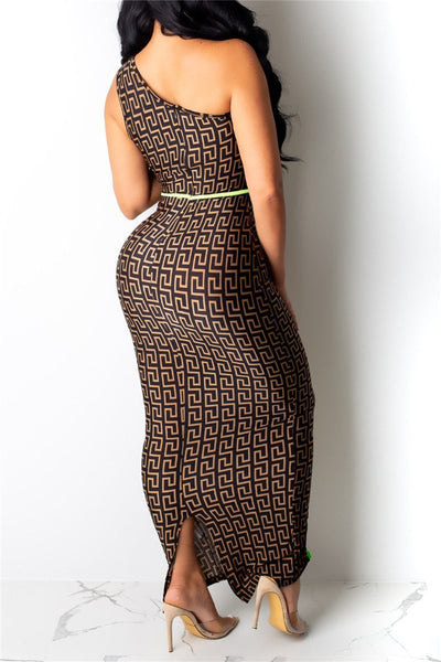 One Shoulder Printed Maxi Dress - ezcute