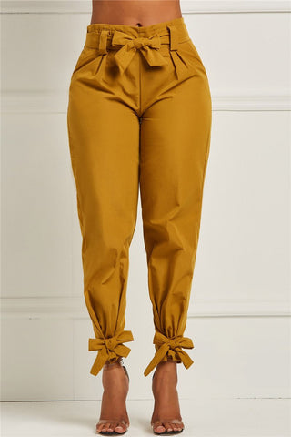 Solid Color Bandage Bowknot Pants - ezcute