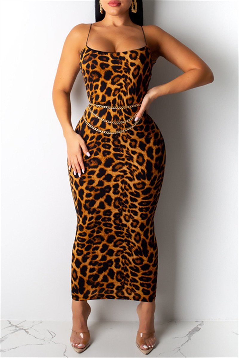 Leopard Printed Cami Maxi Dress - ezcute