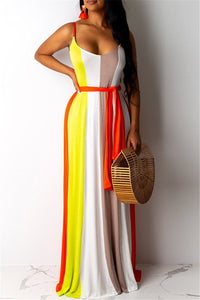 Striped Cami Maxi Dress With Belt - ezcute