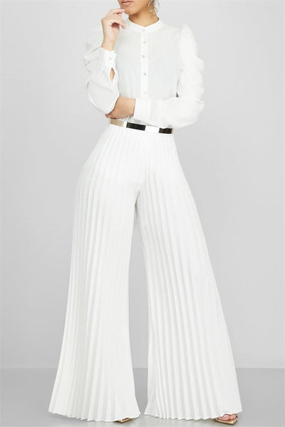 Casual Pleated Wide Leg Pants - ezcute
