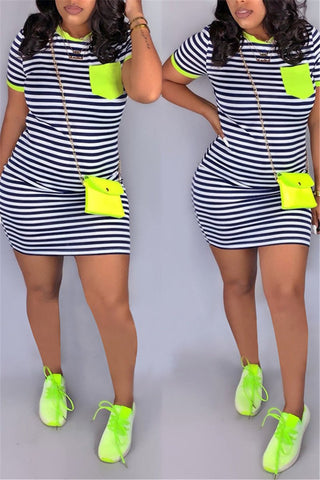Striped Pocket Mini Dress - ezcute