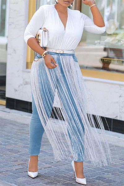 Tassel Splicing Denim Pants - ezcute