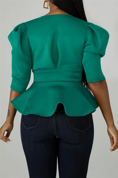 Solid Color Flounce Wrap Shirt - ezcute