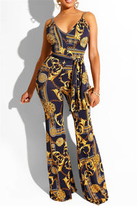 Printed Cami Jumpsuit With Belt