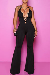 Solid Color Bandage Backless Jumpsuit