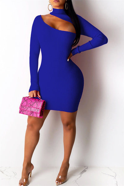 Solid Color Hollow Out Mini Dress - ezcute
