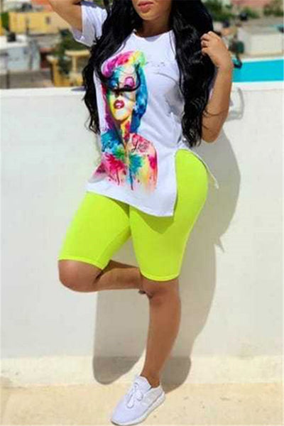 Cartoon Printed Split Top& Shorts Sets - ezcute