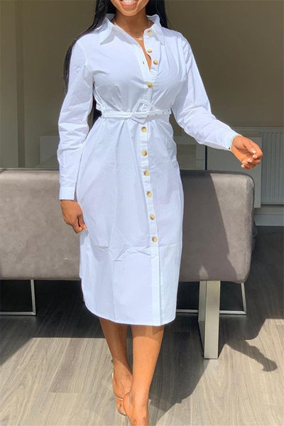 Casual Solid Color Shirt Dress - ezcute