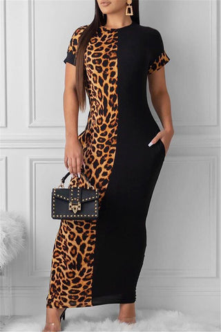 Leopard Splicing Printed Maxi Dress - ezcute