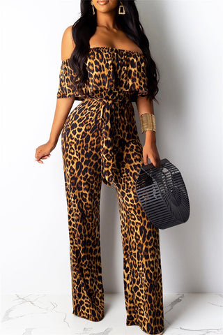 Off Shoulder Leopard Printed Jumpsuit