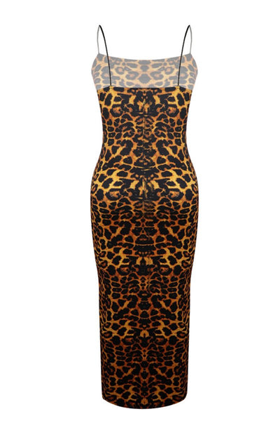 Plus Size Leopard Printed Cami Dress - ezcute