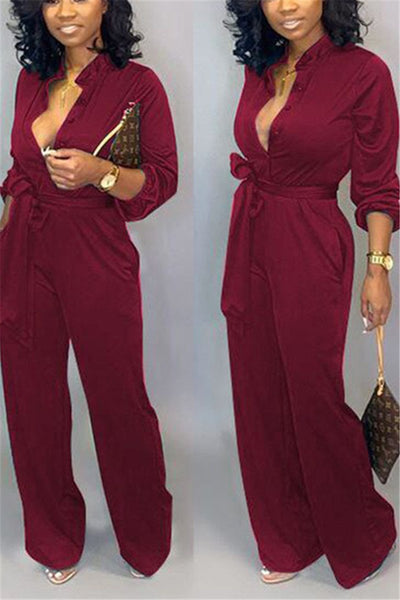 Casual Solid Color Jumpsuit With Belt - ezcute