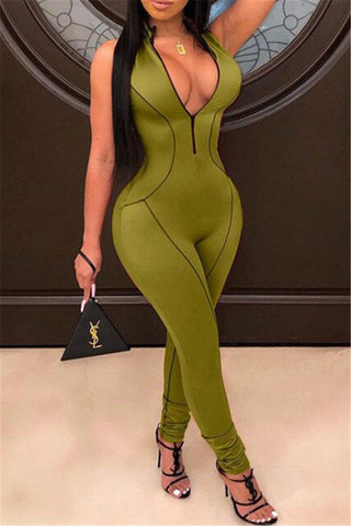 Solid Color Sleeveless Zipper Jumpsuit