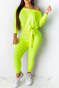 Sloping Shoulder Jumpsuit With Belt
