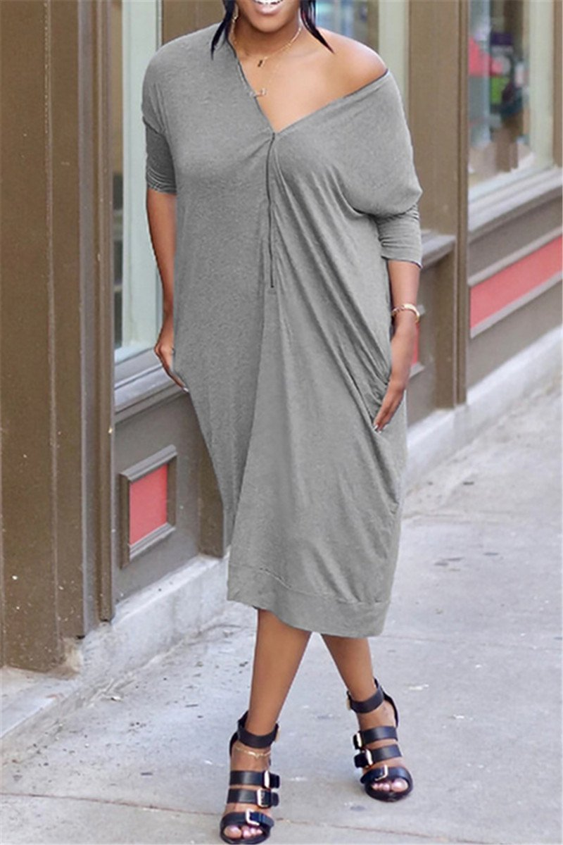 Solid Color Casual Zipper Midi Dress - ezcute