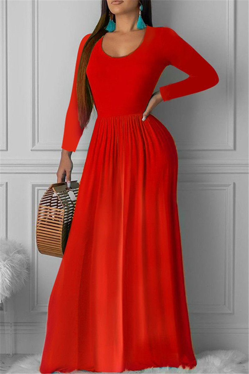 Solid Color Ruched Maxi Dress - ezcute