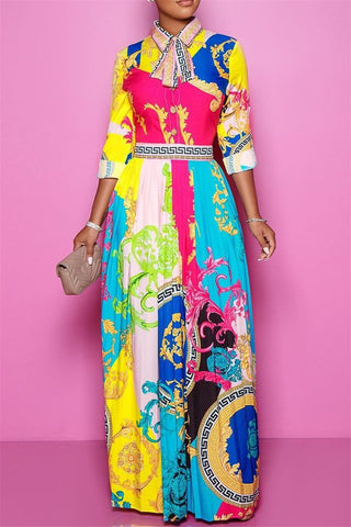 Printed Maxi Dress With Tie