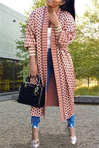 Casual Printed Cardigan Coat
