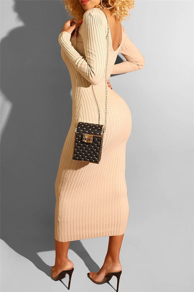 Solid Color V Neck Midi Dress - ezcute