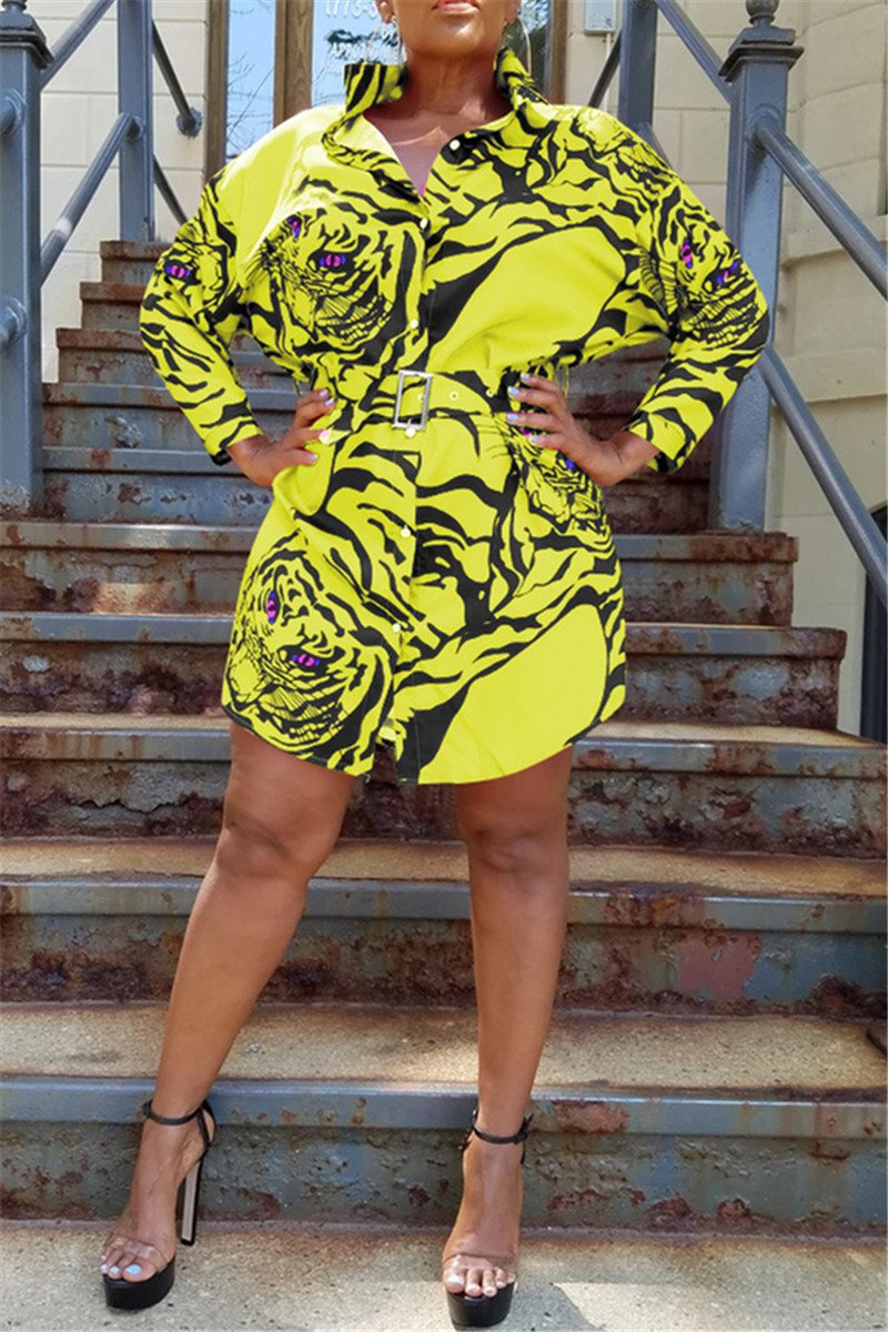 Tiger Head Printed Shirt Dress - ezcute