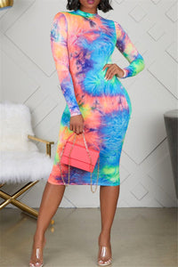 Tie Dye Midi Dress - ezcute