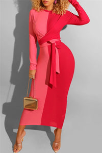 Color Splicing Bandage Maxi Dress - ezcute
