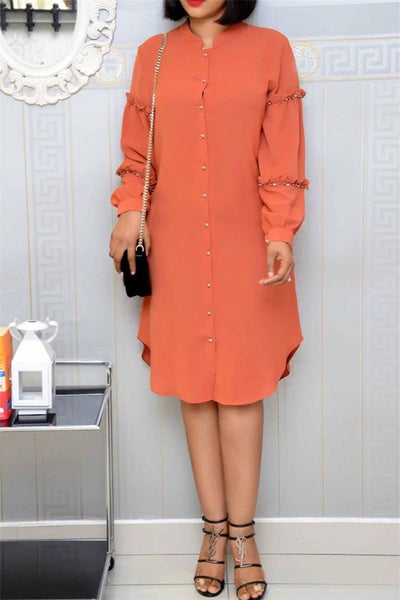 Pearl Studded Shirt Dress - ezcute