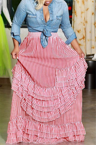 Stripe Printed Flounce Hem Skirt - ezcute