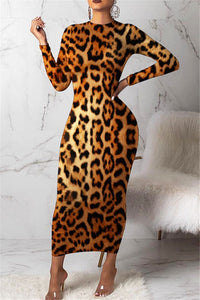 Leopard Printed Maxi Dress - ezcute