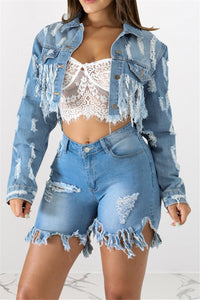 Distressed Tassel Denim Jacket