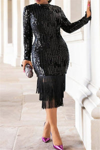 Sequin Tassel Splicing Party Dress - ezcute